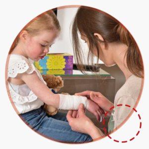 Nurse bandage young girl